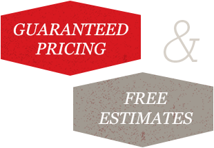 Illustration with text saying guaranteed pricing and free estimates